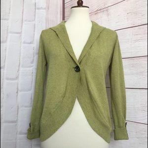 CAbi Women's Cardigan Sweater Linen Blend Green